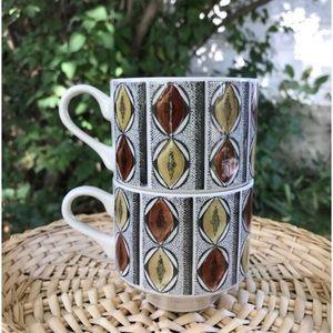 Pair of vintage stackable coffee mugs 1970's